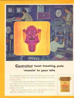 Hughes Tool Company 1954 Vintage Ad Oil Field Bits Controlled Muscle