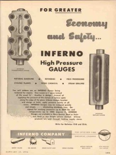 Inferno Company 1954 Vintage Ad Oil High Pressure Gauge Economy Safety
