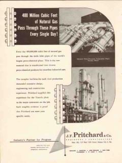 J F Pritchard Company 1954 Vintage Ad National Peterochem Tuscola IL
