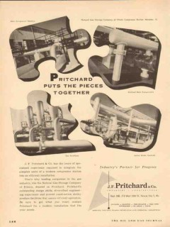 J F Pritchard Company 1954 Vintage Ad Oil Natural Gas Pieces Together