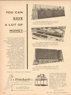 J F Pritchard Company 1954 Vintage Ad Oil Cooling Tower Save Money