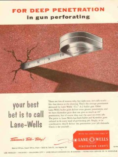 Lane-Wells Company 1954 Vintage Ad Oil Field Gun Perforating Deep