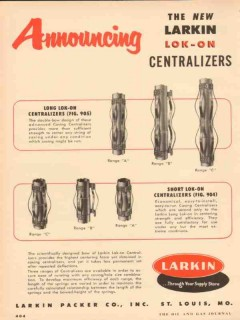 Larkin Packer Company 1954 Vintage Ad Oil Field Lok-On Centralizers