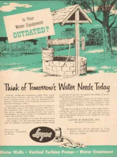Layne Bowler Inc 1954 Vintage Ad Oil Field Water Equipment Outdated