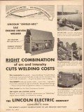 lincoln electric company 1954 arc intensity welding costs vintage ad