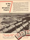 Lone Star Cement Corp 1954 Vintage Ad Oil Industry Progress In Step