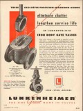 Lunkenheimer Company 1954 Vintage Ad Oil Field Gate Valves Iron Body