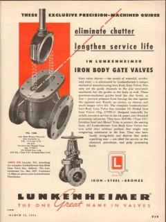 Lunkenheimer Company 1954 Vintage Ad Oil Field Gate Valves Iron Body