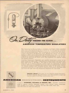 Manning Maxwell Moore Inc 1954 Vintage Ad Temperature Regulators Duty
