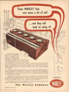 Marley Company 1954 Vintage Ad Oil Cooling Towers Fans Move Lot Air