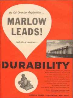 Marlow Pumps 1954 Vintage Ad Oil Country Application Leads Durability