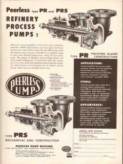 peerless pump 1954 fmc pr prs oil refinery process pumps vintage ad