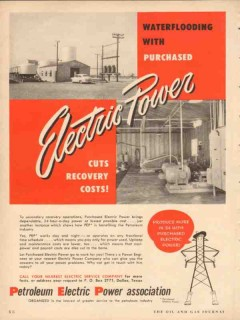 petroleum electric power assoc 1954 waterflooding cuts cost vintage ad