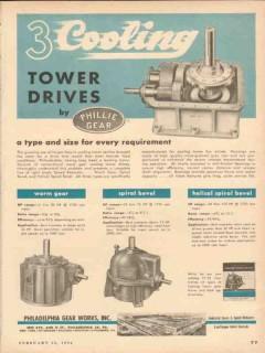 Philadelphia Gear Works 1954 Vintage Ad Oil Three Cooling Tower Drives