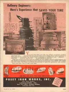 posey iron works 1954 refinery engineers experience steel vintage ad