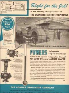 Powers Regulator Company 1954 Vintage Ad Wolverine Electric Hershey MI