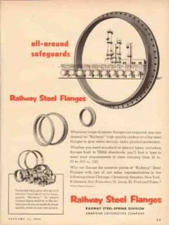 american locomotive 1954 all-around safeguards steel flange vintage ad