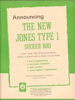 S M Jones Company 1954 Vintage Ad Oil Sucker Rods Announcing New Type