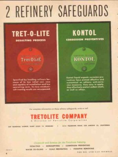 Tretolite Company 1954 Vintage Ad Oil Refinery Safeguards Kontol