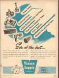 Vinson Supply Company 1954 Vintage Ad Oil Field Best Source Quality