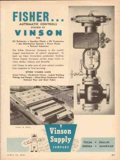 Vinson Supply Company 1954 Vintage Ad Oil Fisher Automatic Control