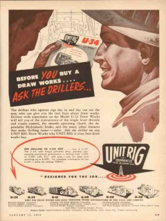 Unit Rig Equipment Company 1954 Vintage Ad Oil Ask Driller Before Buy