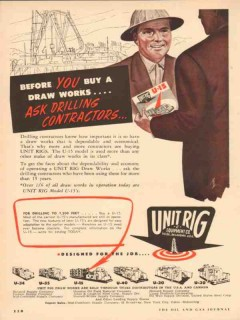 Unit Rig Equipment Company 1954 Vintage Ad Oil Drilling Contractor Buy