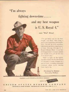 United States Rubber Company 1954 Vintage Ad Oil Fighting Down-Time