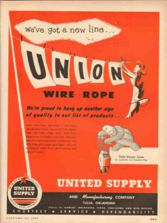United Supply Mfg Company 1954 Vintage Ad Oil New Line Union Wire Rope