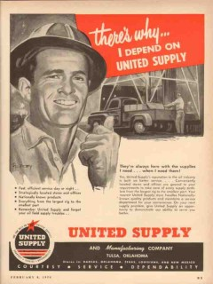 United Supply Mfg Company 1954 Vintage Ad Oil Depend Better Service