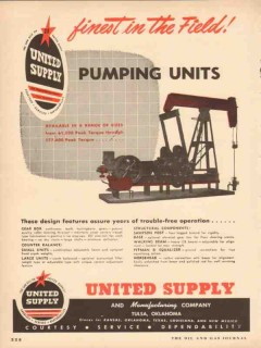 United Supply Mfg Company 1954 Vintage Ad Oil Field Well Pumping Units