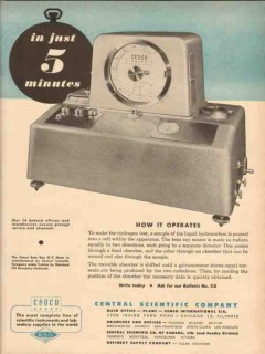 Central Scientific Company 1954 Vintage Ad Oil Beta Ray 5 Minutes