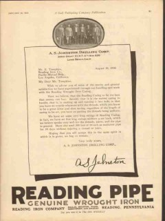 A S Johnston Drilling Corp 1928 Vintage Ad Reading Iron Co Well Casing