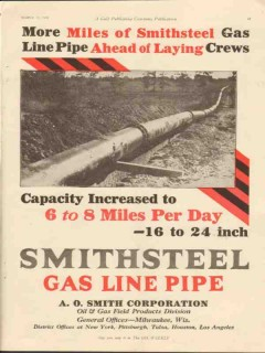 A O Smith Corp 1928 Vintage Ad Oil Line Pipe More Miles Smithsteel Gas