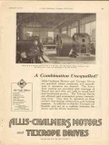 Allis-Chalmers 1928 Vintage Ad Combination Unequalled Texrope Drives