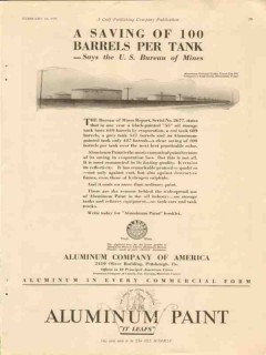 aluminum company of america 1928 yount-lee tank farm saving vintage ad