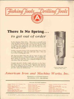 American Iron Machine Works 1928 Vintage Ad Oil There Is No Spring