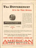 American Roller Bearing Company 1928 Vintage Ad Difference In Steel