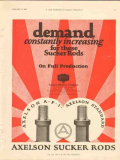 Axelson Machine Company 1928 Vintage Ad Demand Increasing Sucker Rods