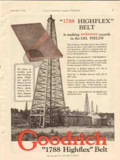 B F Goodrich Rubber Company 1928 Vintage Ad Highflex Belt Endurance
