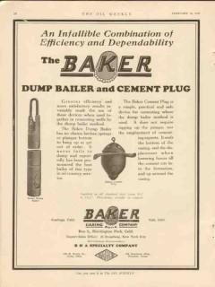 Baker Casing Shoe Company 1928 Vintage Ad Oil Dump Bailer Cement Plug