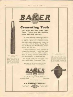Baker Casing Shoe Company 1928 Vintage Ad Oil Wells Cementing Tools