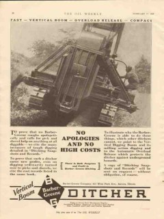 Barber-Greene Company 1928 Vintage Ad Ditcher No Apologies High Costs