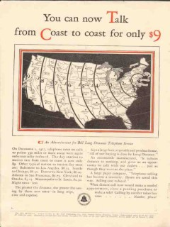american telephone telegraph 1928 talk coast only 9 dollars vintage ad