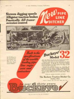 Buckeye Traction Ditcher Company 1928 Vintage Ad Sixteen Digging Speed