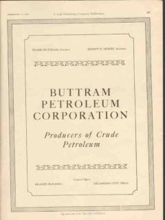 Buttram Petroleum Corporation 1928 Vintage Ad Crude Oil Producers