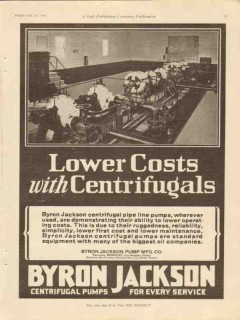 Byron Jackson Pump Mfg Company 1928 Vintage Ad Lower Cost Centrifugals
