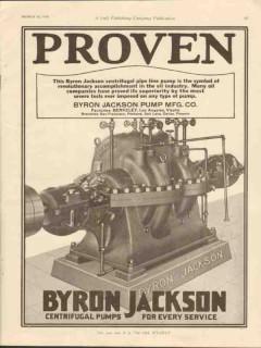 Byron Jackson Pump Mfg Company 1928 Vintage Ad Oil Centrifugal Proven