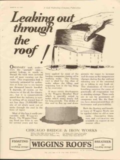 Chicago Bridge Iron Works 1928 Vintage Ad Oil Leaking Out Through Roof