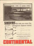 Continental Supply Company 1928 Vintage Ad Oil Youngstown Pipe Good
